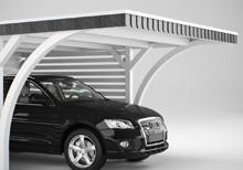 Carport mit Flachdach und Schieferblende