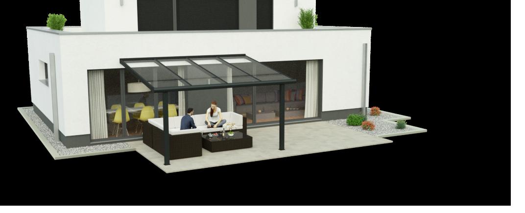 Terrassenüberdachung 3,50m x 4,00m Ansicht 1