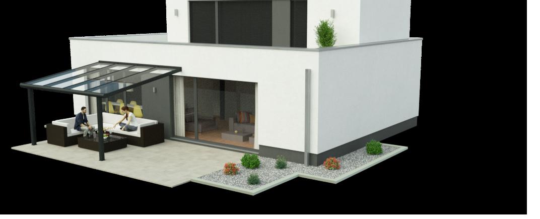 Terrassenüberdachung 3,50m x 4,00m Ansicht 2