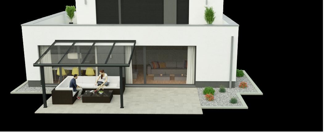 Terrassenüberdachung 3,50m x 4,00m Ansicht 3